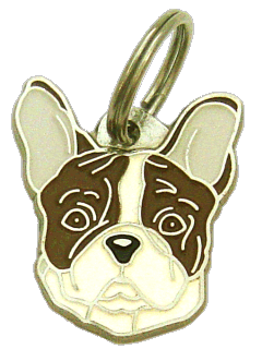 FRENCH BULLDOG WHITE BROWN - pet ID tag, dog ID tags, pet tags, personalized pet tags MjavHov - engraved pet tags online